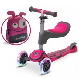 Самокат 2в1 Smart Trike Scooter T1 Pink с рюкзаком
