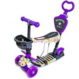 """Самокат Scooter 5в1 """"Фиолетовый Цветочек"""""""