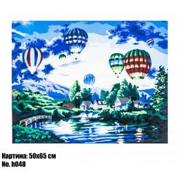 Картина по номерам Воздушные шары над рекой (H048) 50 х 65 см