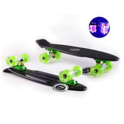 Пенни борд Fish Skateboards Black (светящиеся колеса)