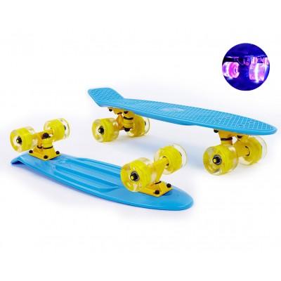 Пенни борд Fish Skateboards Blue (светящиеся колеса)