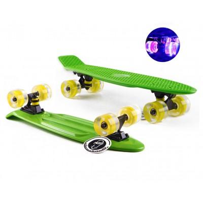 Пенни борд Fish Skateboards Green (светящиеся колеса)