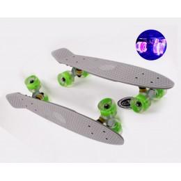 Пенни борд Fish Skateboards  Grey (светящиеся колеса)