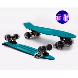 Пенни борд Fish Skateboards  Emerald (светящиеся колеса)