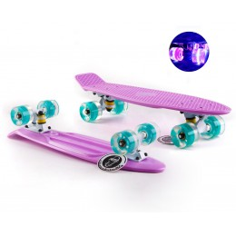 Пенни борд Fish Skateboards  Lilac (светящиеся колеса)