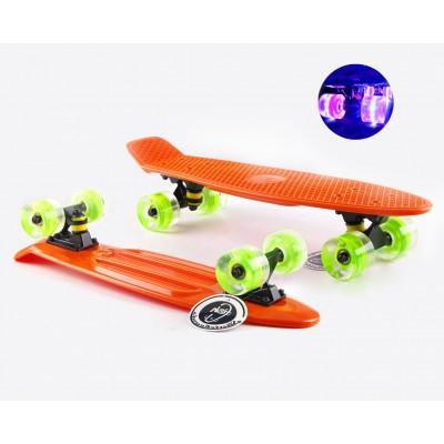 Пенни борд Fish Skateboards Orange  (светящиеся колеса)