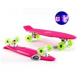 Пенни борд Fish Skateboards  Pink (светящиеся колеса)