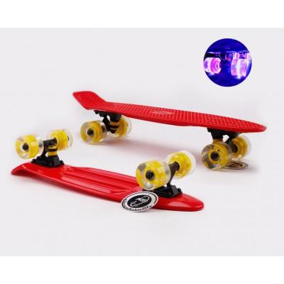 Пенни борд Fish Skateboards Red  (светящиеся колеса)