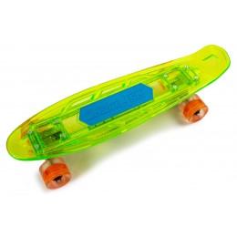 Пенни борд Fish Skateboards Green со светящийся  доской и музыкой