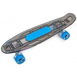 Пенни борд Fish Skateboards Black со светящийся  доской и музыкой