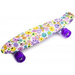 Пенни борд Violet Flowers (светящиеся колеса)