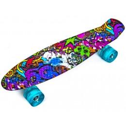 Пенни борд Graffiti Violet (светящиеся колеса)