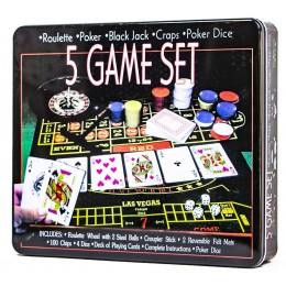 Набор карточных игр 5 в 1 с рулеткой