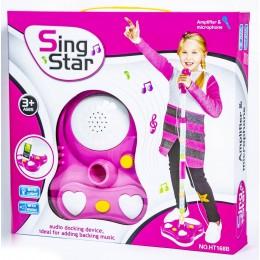 Детский микрофон розовый со стойкой SING STAR HT168B оптом