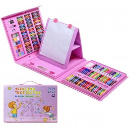 Набор художника для творчества (208 предметов) Розовый