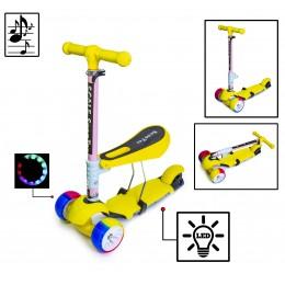 Самока Scooter 3in1 Yellow. Складная ручка! Cо светом и музыкой! Смарт-колеса