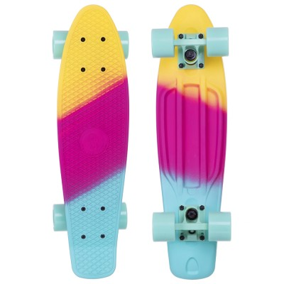 Пенни борд Fish Skateboards Градиент Mint-Pink-Yellow (матовое покрытие)