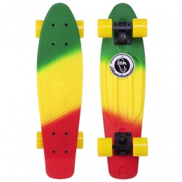 Пенни борд Fish Skateboards Red-Green-Yellow (матовое покрытие)