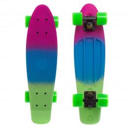 Пенни борд Fish Skateboards Green-Blue-Violet (матовое покрытие)