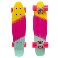 Пенни борд Fish Skateboards Pink-Yellow-Mint (матовое покрытие)