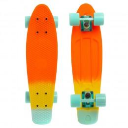 Пенни борд Fish Skateboards Orange-Yellow-Mint (матовое покрытие)
