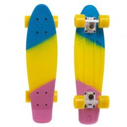 Пенни борд Fish Skateboards Blue-Yellow-Lilac (матовое покрытие)