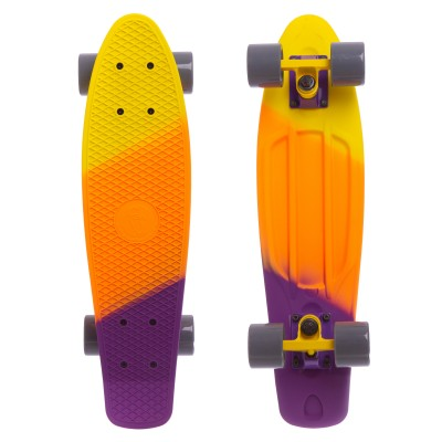Пенни борд Fish Skateboards Градиент Yellow-Orange-Violet (матовое покрытие)