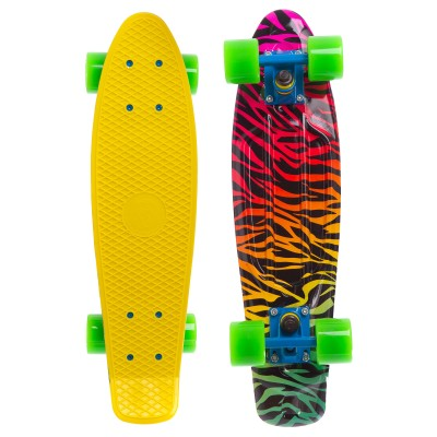 Пенни борд Fish Skateboards Yellow-Zebra