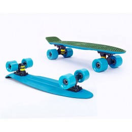 Пенни борд Fish Skateboards Twin Green-Blue (матовое покрытие)