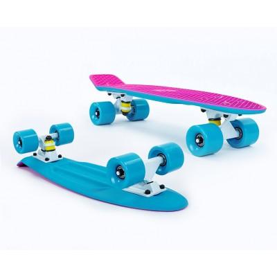 Пенни борд Fish SkateboardsTwin Pink-Blue (матовое покрытие)
