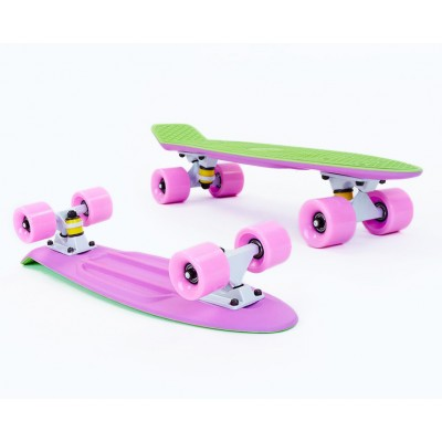 Пенни борд Fish SkateboardsTwin Green-Lilac (матовое покрытие)