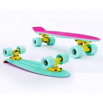 Пенни борд Fish SkateboardsTwin Pink-Mint (матовое покрытие)
