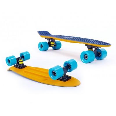 Пенни борд Fish SkateboardsTwin Orange-Blue (матовое покрытие)