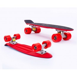 Пенни борд Fish Skateboards Twin Black-Red (матовое покрытие)