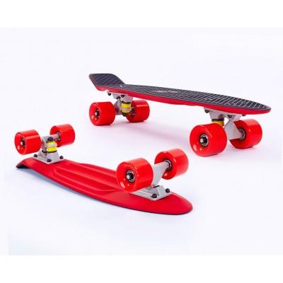 Пенни борд Fish SkateboardsTwin Black-Red (матовое покрытие)