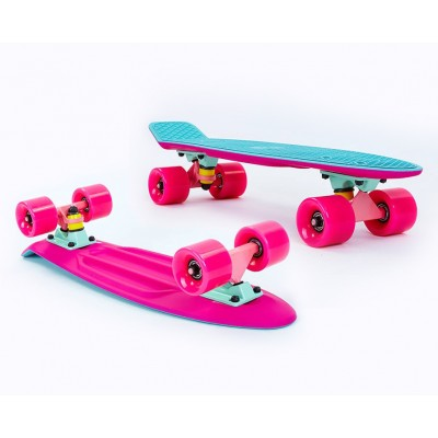 Пенни борд Fish SkateboardsTwin Blue-Pink (матовое покрытие)
