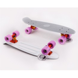 Пенни борд Fish Skateboards Twin Grey-White (матовое покрытие)