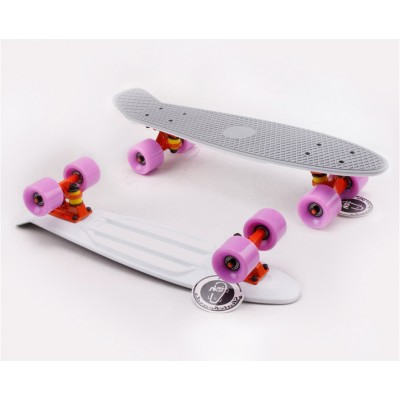 Пенни борд Fish SkateboardsTwin Grey-White (матовое покрытие)