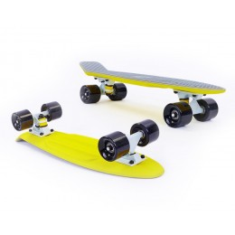 Пенни борд Fish Skateboards Twin Grey-Yellow (матовое покрытие)