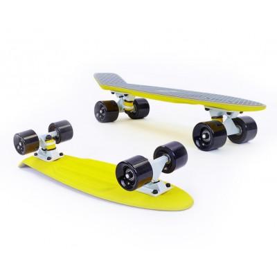Пенни борд Fish SkateboardsTwin Grey-Yellow (матовое покрытие)
