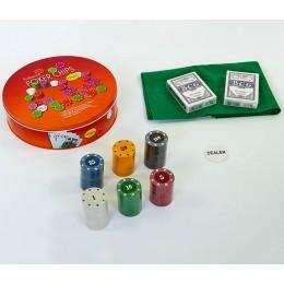 Покерный набор с сукном в металлической коробке